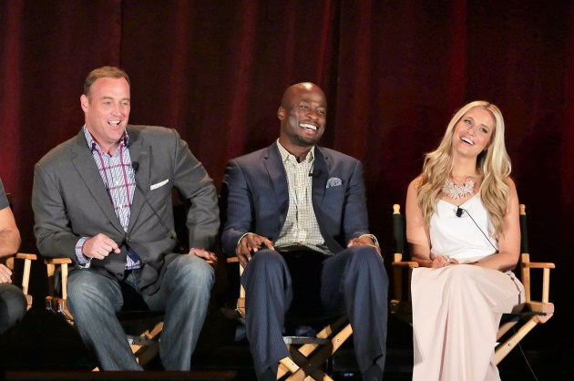 """American Ninja Warrior"" hosts Matt Iseman, Akbar Gbajabiamila, and Kristine Leahy (Photo: Chris Haston/NBC)"
