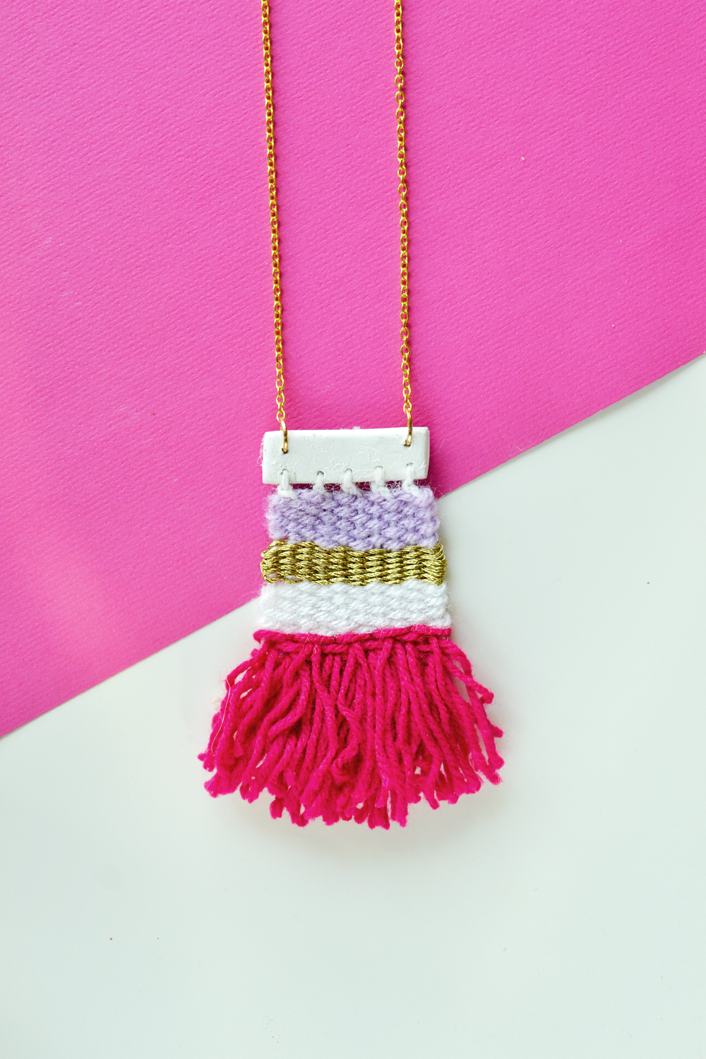 Weaving is time-consuming and not everyone's cup of tea. But it doesn't hurt to create a mini woven necklace and proudly wear it, does it?