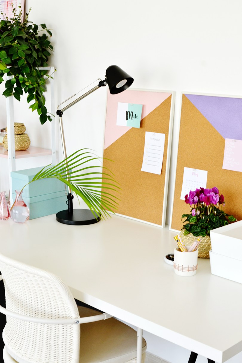 Keep your workspace organized with this easy-to-make DIY Pastel Geometric Pinboards that you can make over the weekend