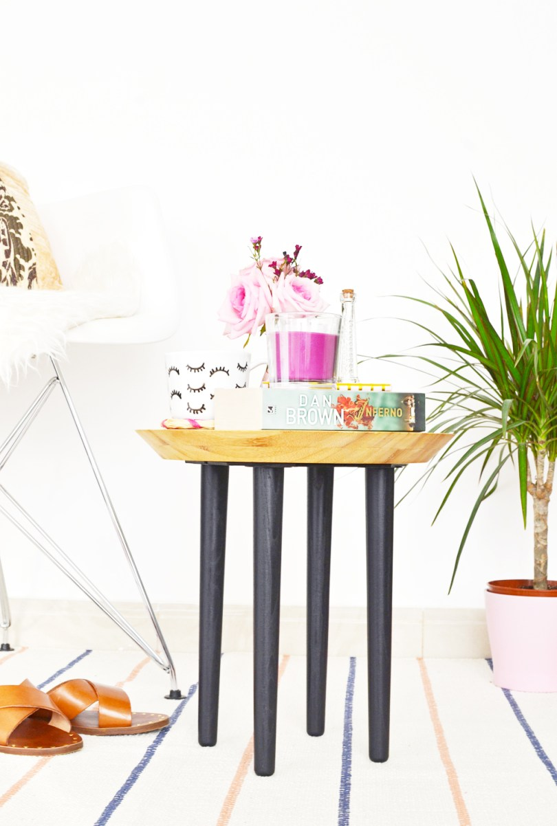 Learn how I made this chopping board side table in half an hour, the perfect IKEA Hack side table yet to be seen