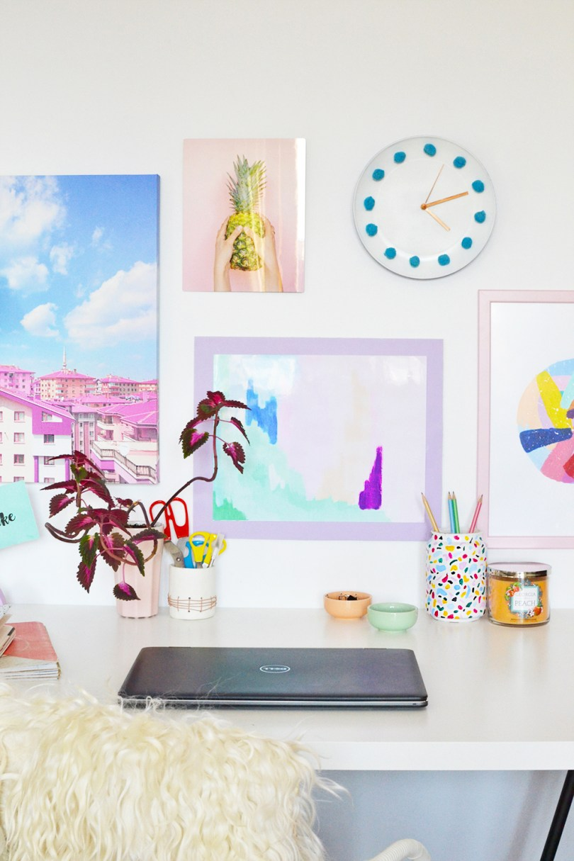 Learn how to make a colorful poster frame with foam board and how to put together a wall gallery with Mixbook