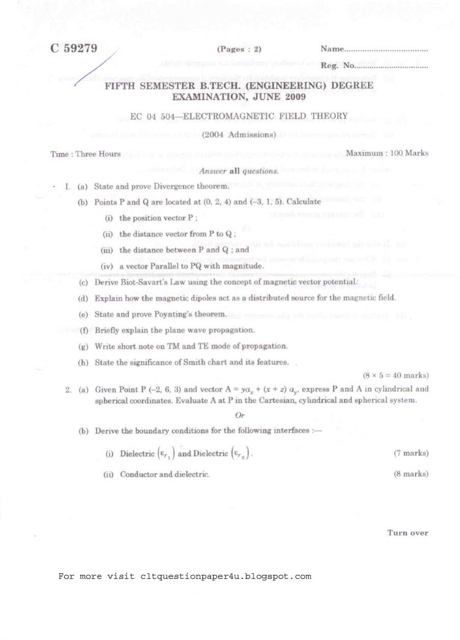 Ntse Papers Entrance Exam Calicut University B Tech In Electronics And