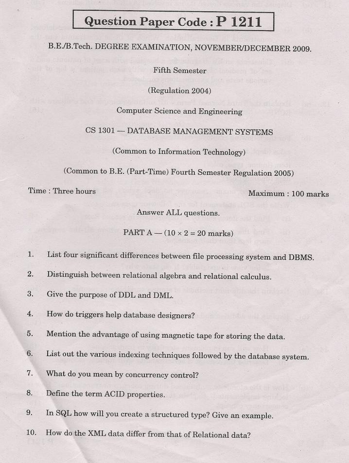 Amie Papers Entrance Exam Anna University Cs 5th Semester Question Papers Free