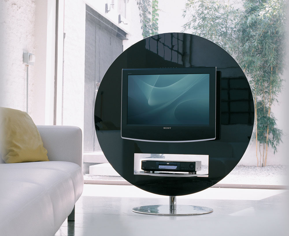 Meuble Support Tv Blanc Mobilier Design | Meuble Tv Vision Pivotant 360 | Mobilier