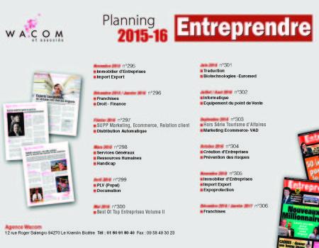 planning Entreprendre 2016