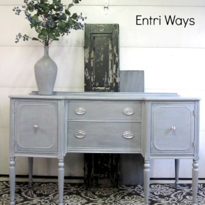 Blue Gray Sideboard With Silver Hepplewhite