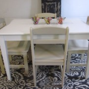 Kids' White Table & Khaki Chairs