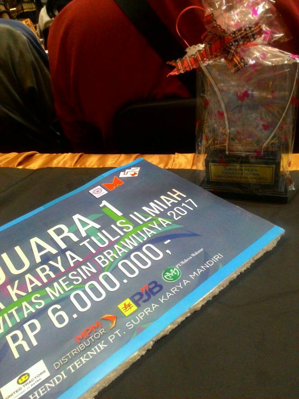 Mahasiswa TL meraih Juara 1 Lomba Karya Tulis Ilmiah 2017