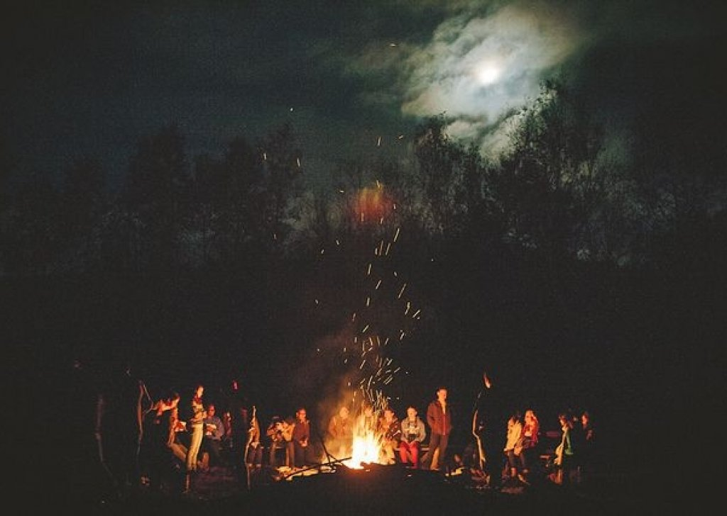Dark Cozy Girl Wallpaper Campfire Night In The Forest With Your Friends Audio