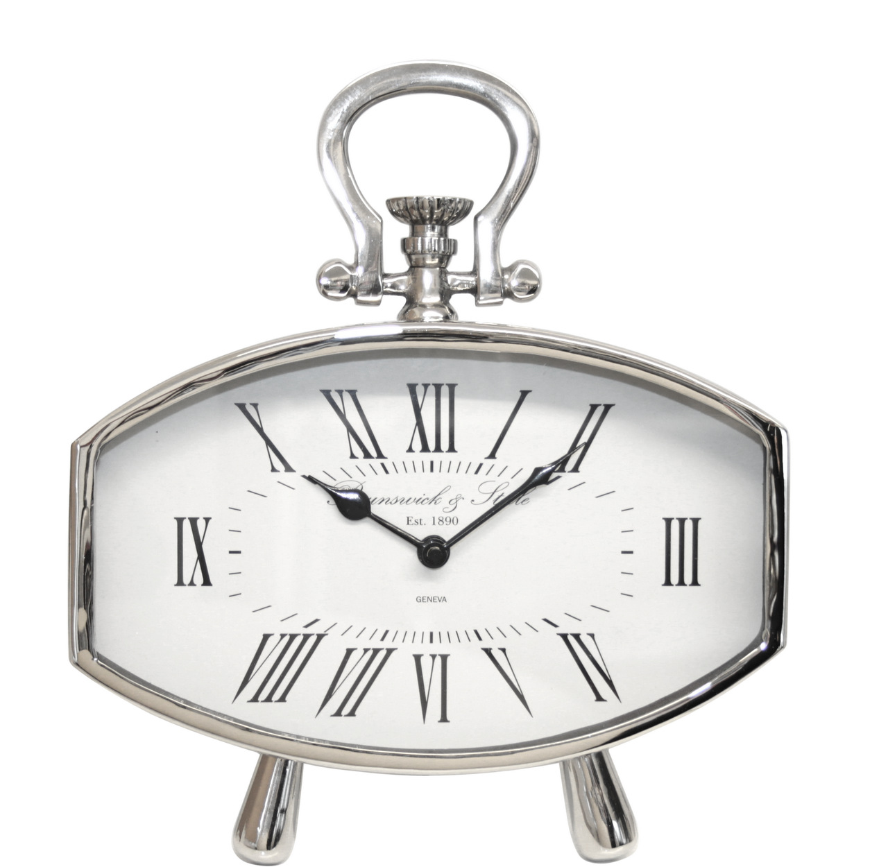 Oval Clock Face Nickel Oval Table Clock