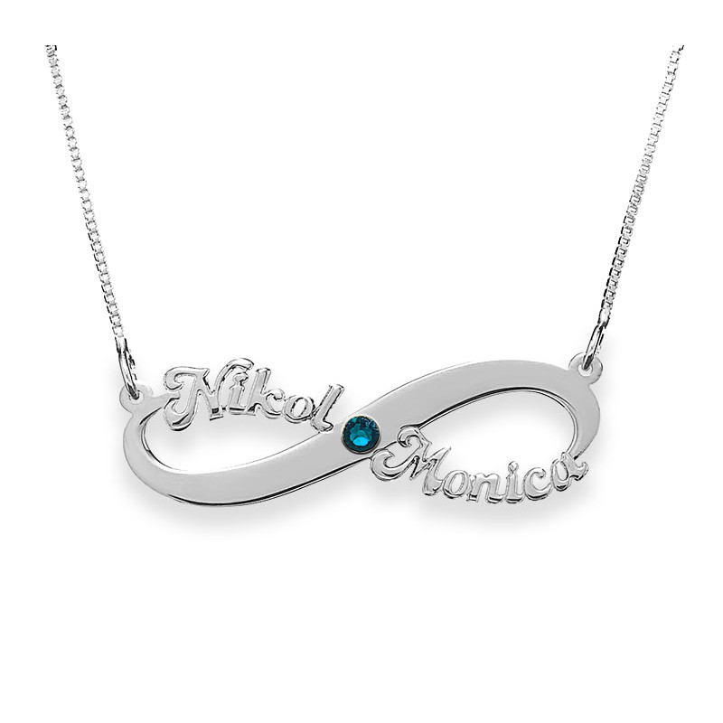 Silver Infinity Necklace With 2 Names And Swarovski Birthstone