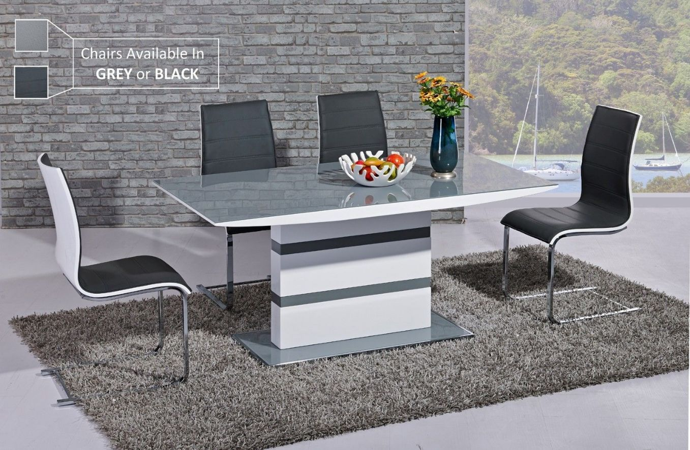 Designer Dining Table And Chairs Ga K2 Designer White Gloss Grey Glass 160 Cm Dining Set 4