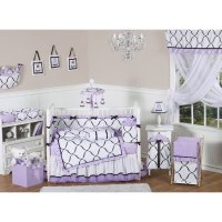 Sweet JoJo Designs Princess Black, White & Purple 9 Piece ...