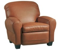 Classic Leather Roll-Back Club Chair Recliner w/ Cigar Arms