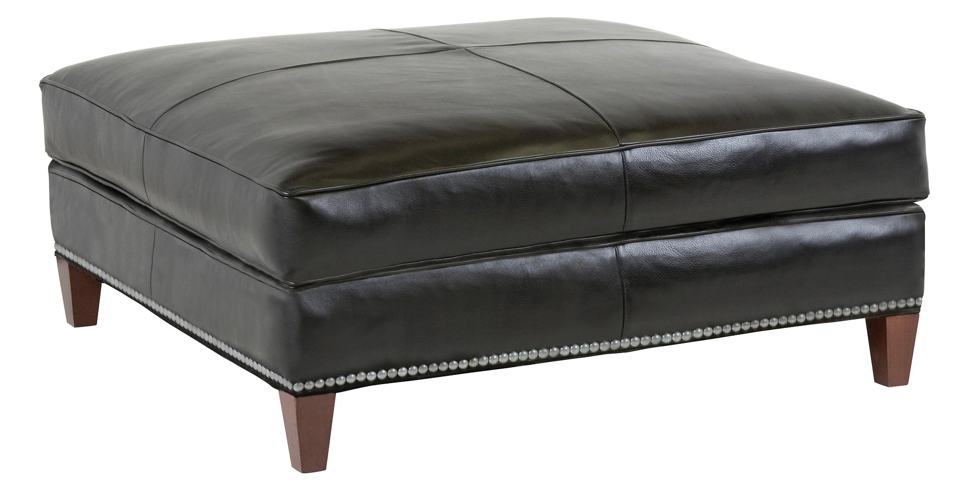 Ottoman Large Black Leather Square Cocktail Ottoman