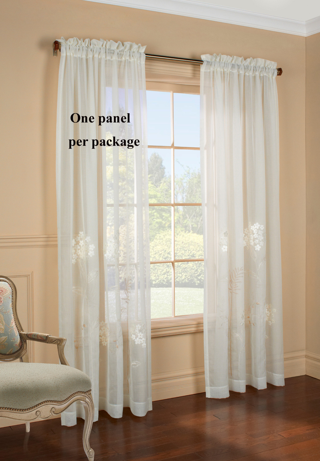 White Sheer Door Panel Curtains Hydrangea Embroidered Semi Sheer Panel