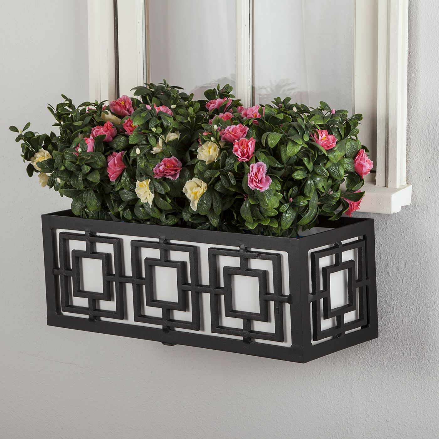 Metal Planter Boxes Geometric Metal Flower Boxes Planters Hooks And Lattice