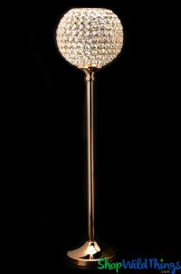 Real Crystal and Gold Beaded Tall Candle Holder Goblet ...