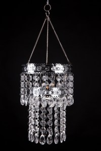 Hanging Crystal Candle Holder, Metal Banding 2-Tier Lexie