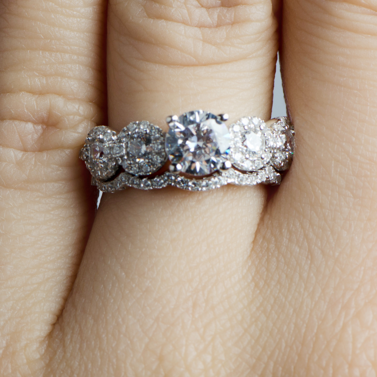 bridal wedding engagement rings cz wedding sets r 01 Sterling Silver Round CZ 3 Stone Halo Ring 2 08 CTW