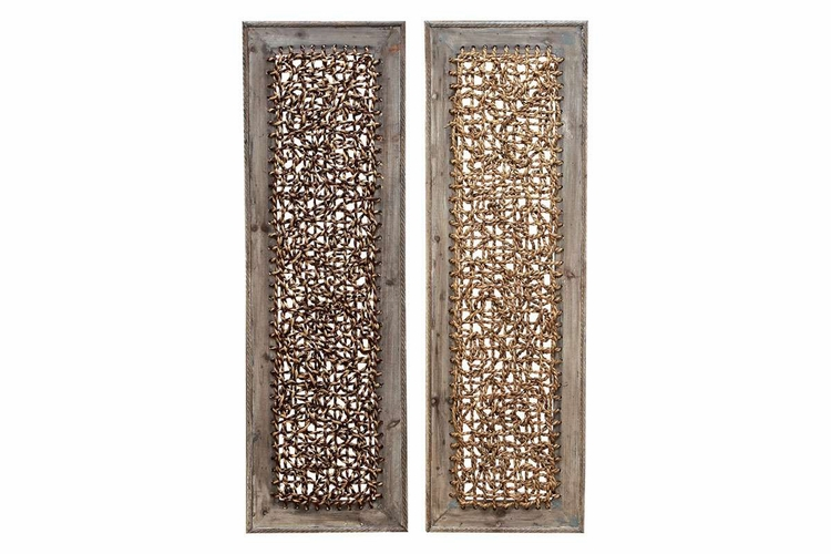 Buy Wood Rattan Wall Dcor, 2 Asst, 38 Inch X 12 Inch At