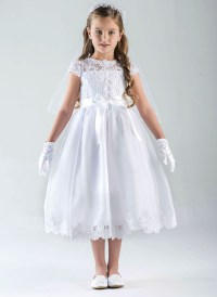 Us Angels Cap Sleeve Illusion Lace Bodice w/ Full Skirt ...