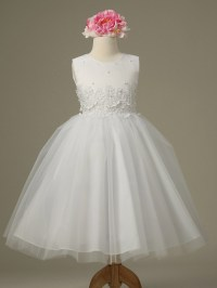 White Cinderella Tulle Flower Girl Dress