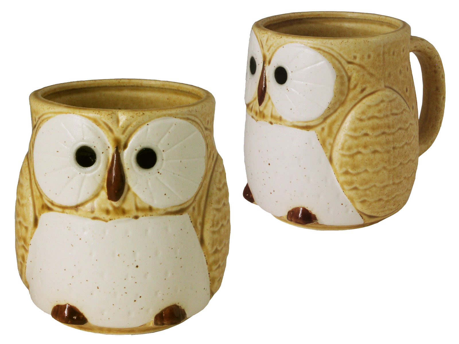 Owl Ceramic Mug Adorable Japanese Ceramic Mustard Yellow Owl Tea Mug