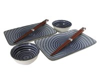 Blue and White Modern Spiral Asian Dinnerware Set