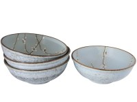 Cherry Blossom On Blue Japanese Soup Bowls Set for Four