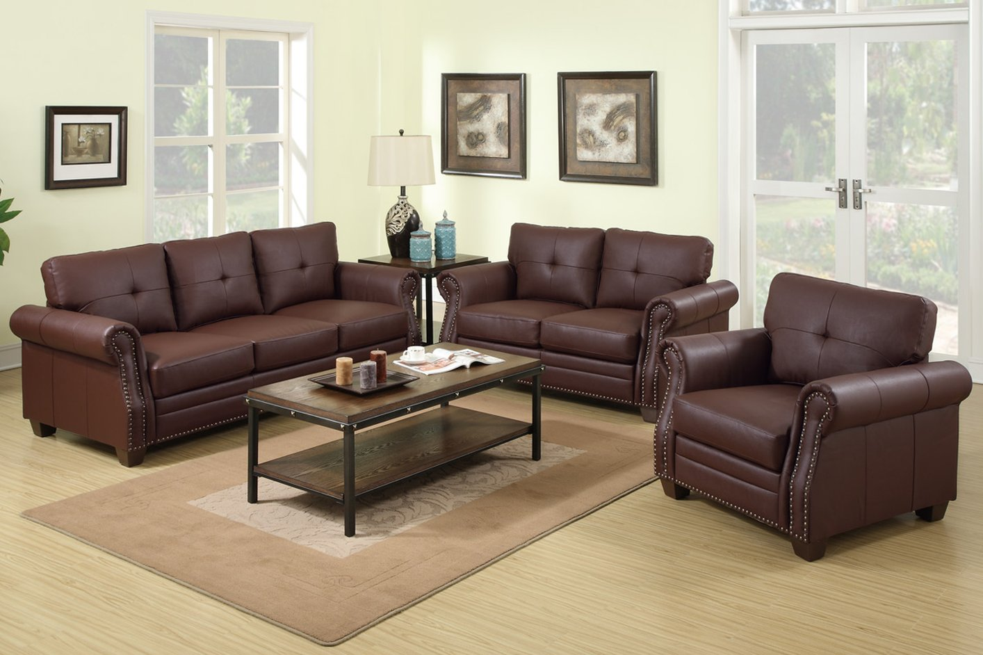 Leather Couch And Sofa Set Poundex Baron F7799 Brown Leather Sofa And Loveseat Set