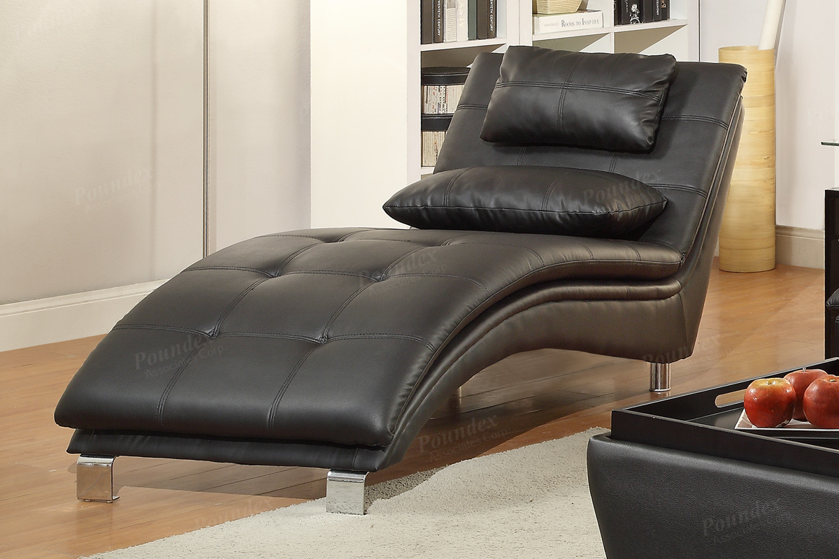 Ex Display Kitchen Islands Poundex Duvis F7839 Black Leather Chaise Lounge - Steal-a