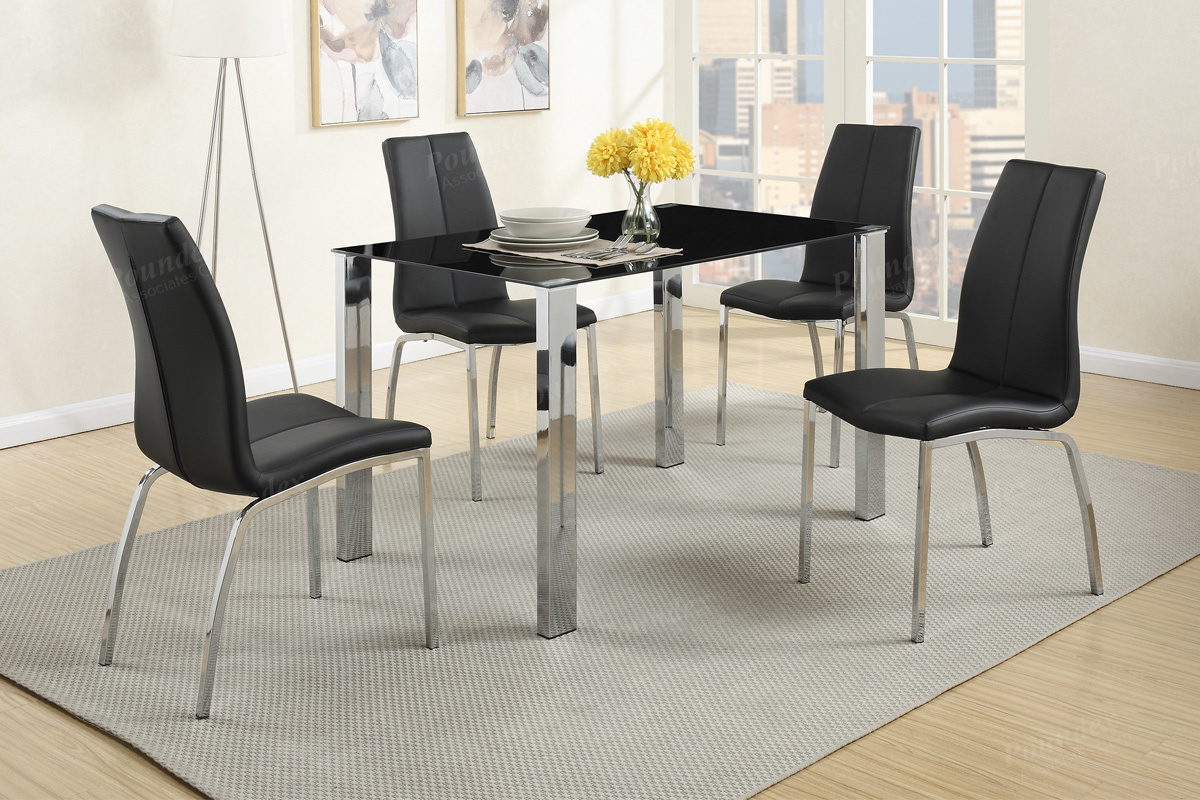 Black Dining Table And Chairs Poundex F2314 F1578 Black Metal Dining Table And Chair Set