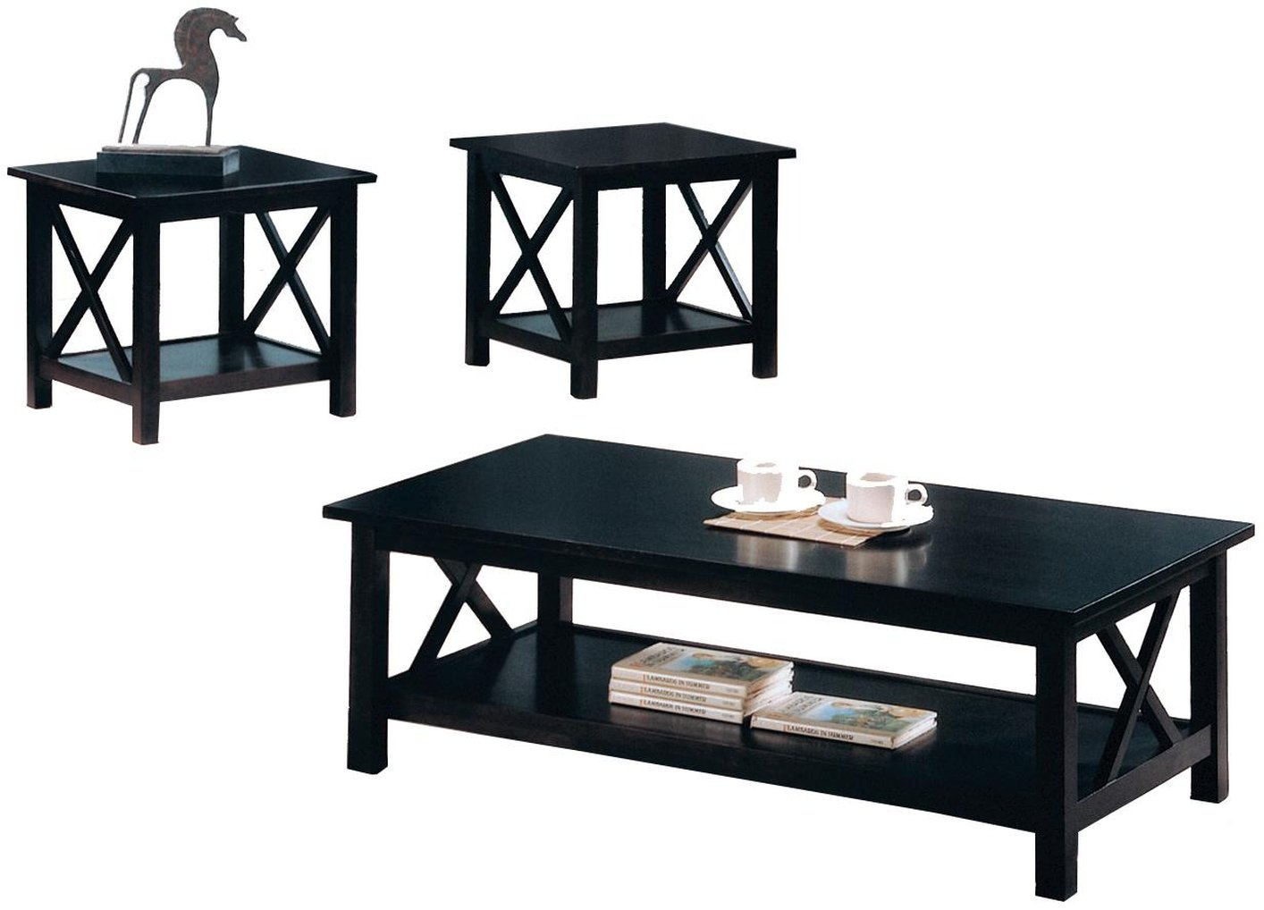 Black wood coffee table set