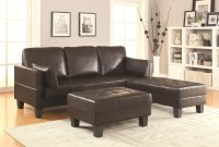 Coaster 300204 Brown Leather Sofa Bed and Ottoman Set ...