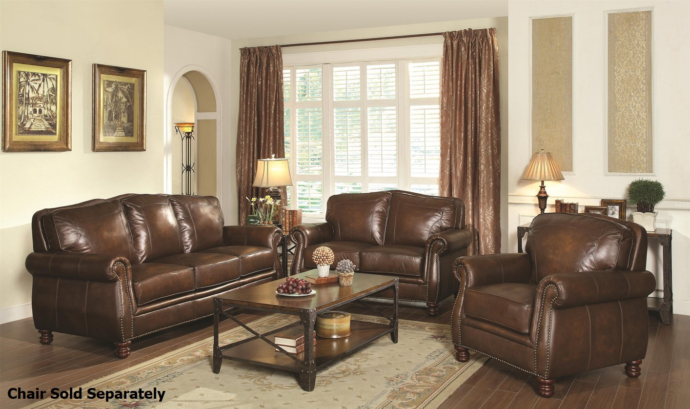 Leather Couch And Sofa Set Coaster Montbrook 503981 503982 Brown Leather Sofa And