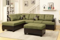Poundex Moss F7604 Green Fabric Sectional Sofa and Ottoman ...