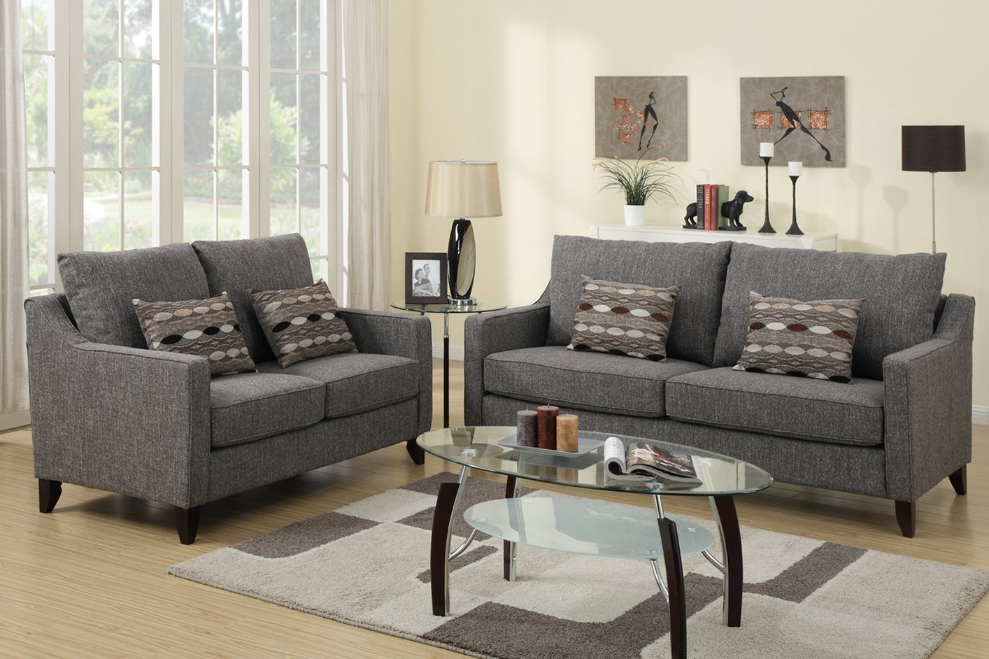 Sofa Set Grau Poundex Avery F7544 Grey Fabric Sofa And Loveseat Set