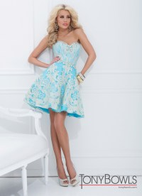 Tony Bowls 2014 Turquoise Gold Baby Doll Sweetheart Prom
