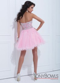 Tony Bowls 2014 White Pink Blue Strapless Beaded Tulle