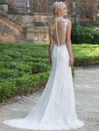 Sincerity 3885 Queen Anne Lace Straight Bridal Dress ...