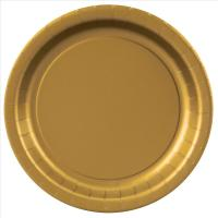 Gold Paper Plates - 7""