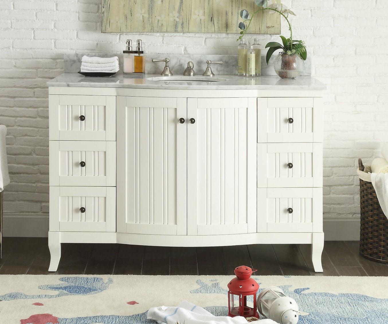 Beach Style Bathroom Vanity 49 Inch Bathroom Vanity Cottage Beach Style Beadboard