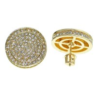 Round Gold Tone Hip Hop Earrings - Earrings