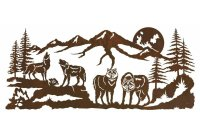 """57"""" Pack of Wolves in the Forest Metal Wall Art - Wildlife ..."""