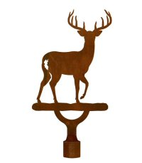 Large Whitetail Deer Metal Lamp Finial - Lamp Accessories