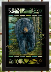 Rocky Outcrop Black Bear Stained Glass Wall Art - Wall ...