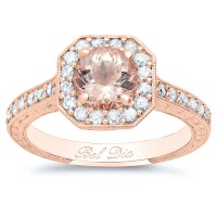 Rose Gold Art Deco Square Halo Engagement Ring for Round ...