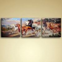 Large Canvas Oils Of Horse Painting 3 Pieces Wall Art ...