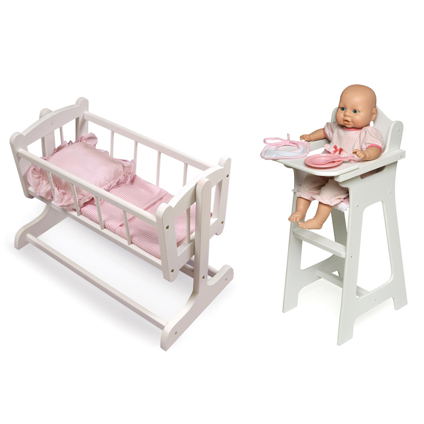 Baby Chairs Argos Badger Basket Heirloom Doll Cradle And Doll High Chair With Plate Bib And Spoon Set